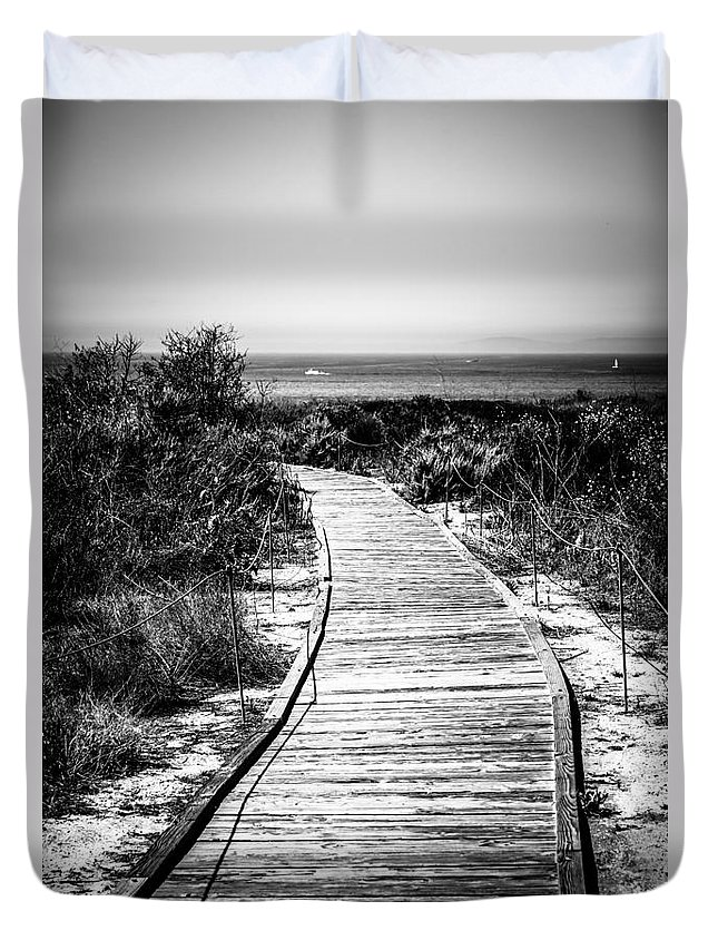 America Duvet Cover featuring the photograph Crystal Cove Wooden Walkway In Black And White by Paul Velgos