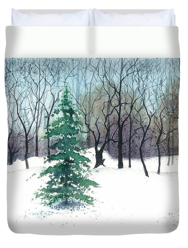 Water Color Paintings Duvet Cover featuring the painting Crystal Morning by Barbara Jewell