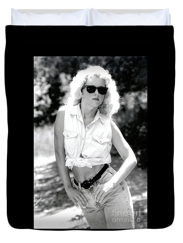 Female Duvet Cover featuring the photograph Crystalbwjeans by Gary Gingrich Galleries