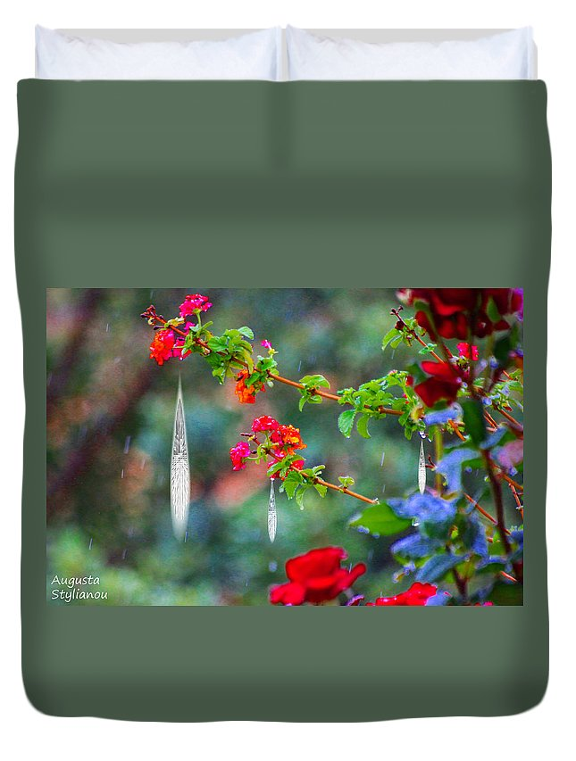 Augusta Stylianou Duvet Cover featuring the photograph Crystals On Flowers by Augusta Stylianou