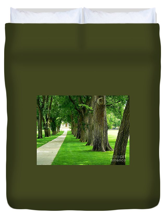 Trees Duvet Cover featuring the photograph Csu Tree Path by Rincon Road Photography By Ben Petersen