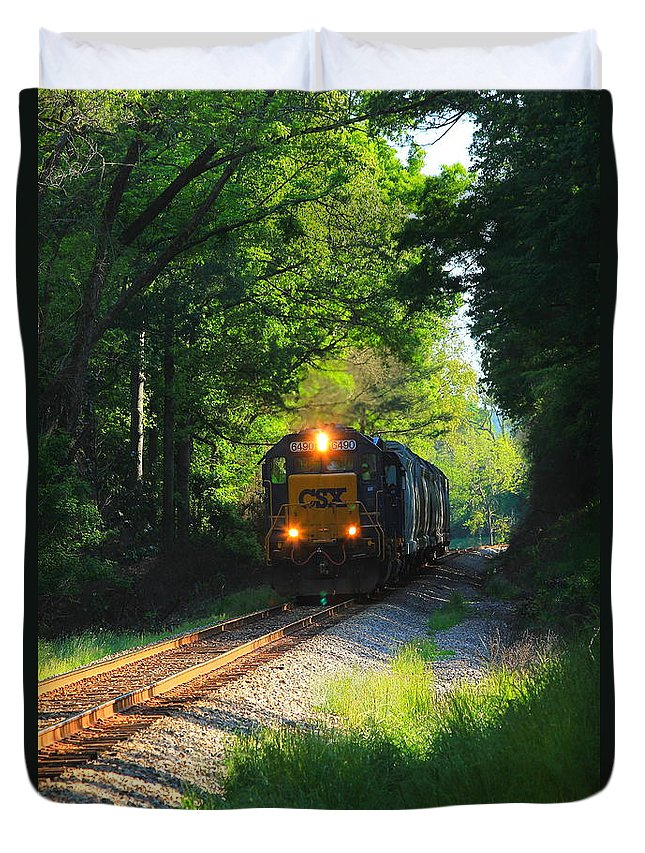 Reid Callaway Train And Track Duvet Cover featuring the photograph Csx Green Tunnel by Reid Callaway