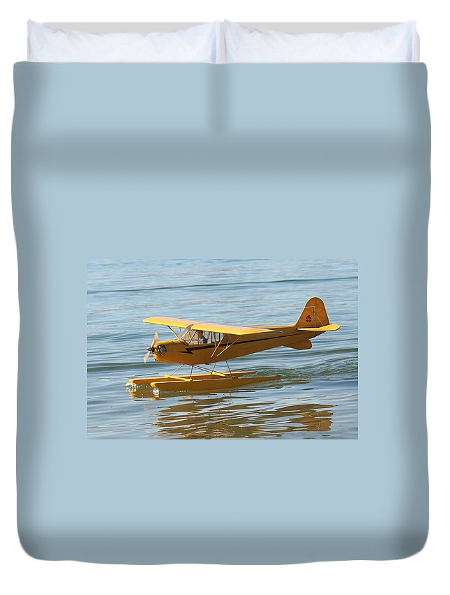 Piper Cub Duvet Cover featuring the photograph Cub On Floats by David S Reynolds