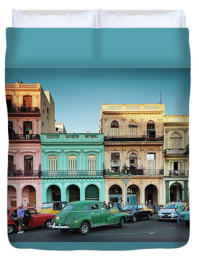 People Duvet Cover featuring the photograph Cuba, Havana, Havana Vieja, Outside T by Walter Bibikow