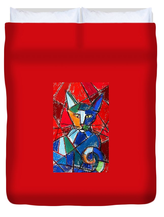 Cat Duvet Cover featuring the painting Cubist Colorful Cat by Mona Edulesco