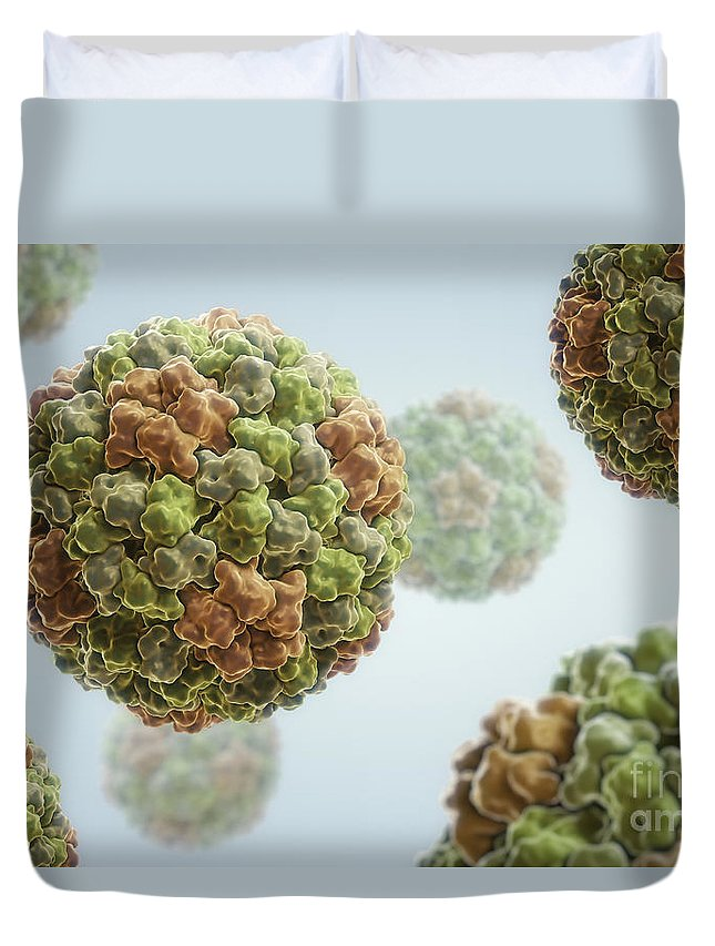Cucumovirus Duvet Cover featuring the photograph Cucumber Mosaic Virus by Science Picture Co