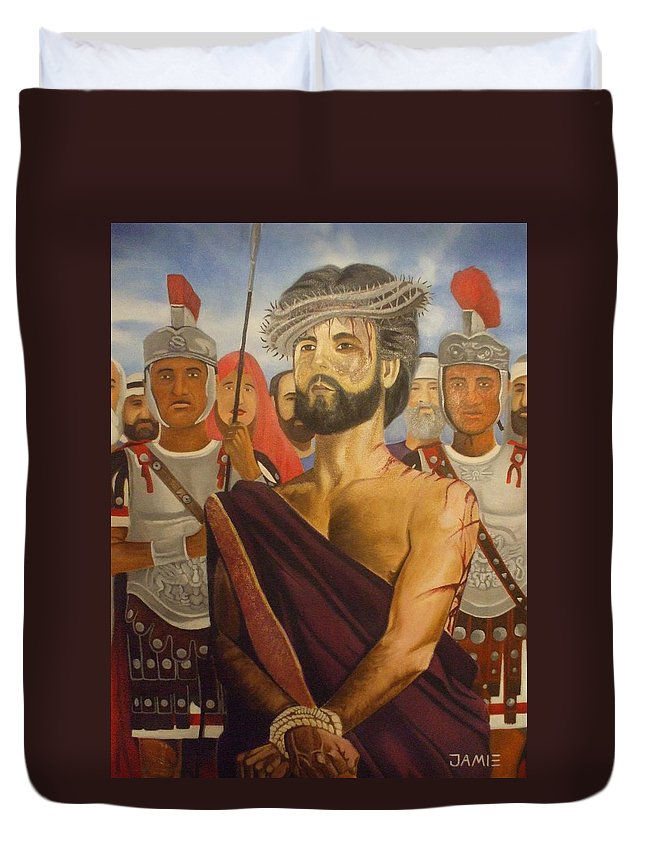 Mary Duvet Cover featuring the painting Cuiseufiction Of Christ by Jamie Preston