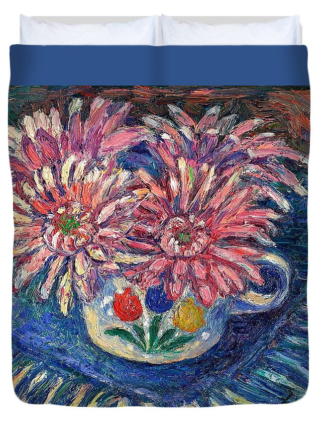 Kendall Kessler Duvet Cover featuring the painting Cup Of Flowers by Kendall Kessler