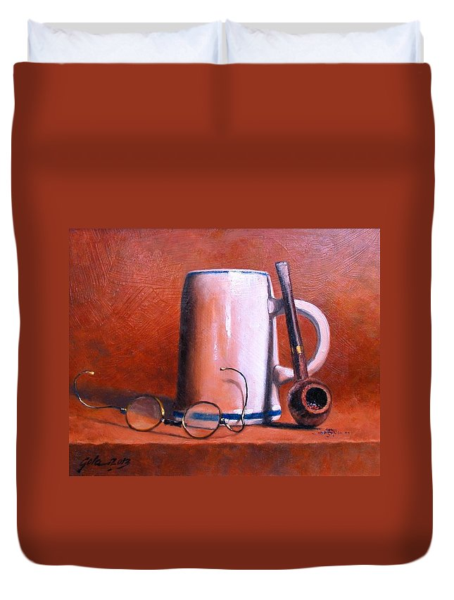 Cups Duvet Cover featuring the painting Cup Pipe and Glasses by Jim Gola