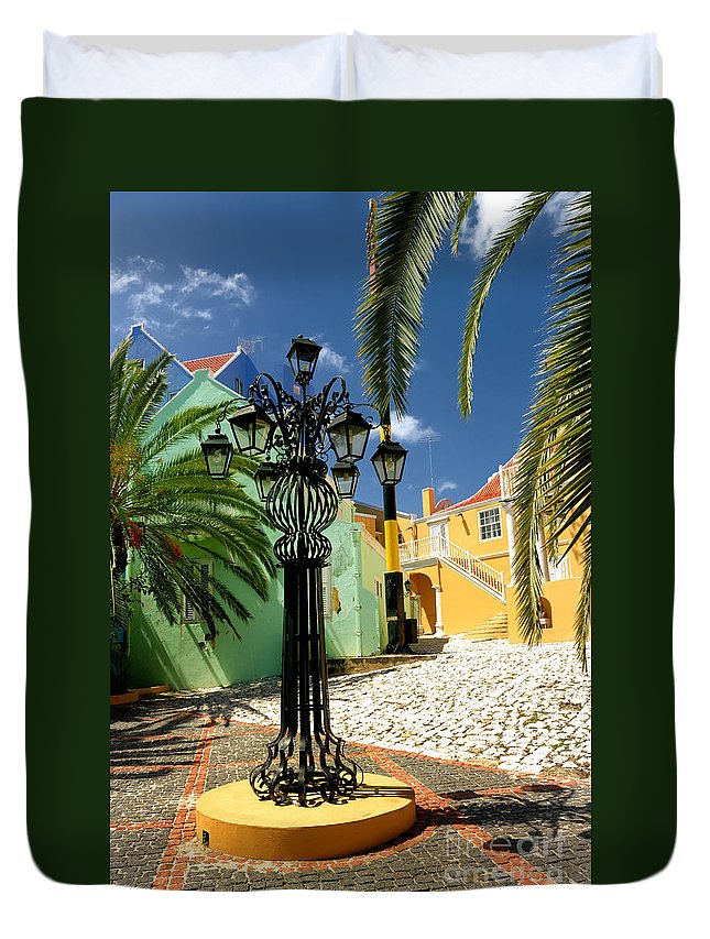 Willemstad Duvet Cover featuring the photograph Curacao Colorful Architecture by Amy Cicconi