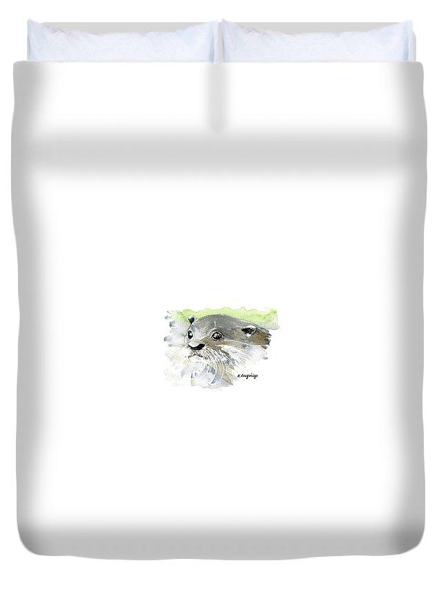 Otter Duvet Cover featuring the painting Curious Otter by Karen Loughridge KLArt