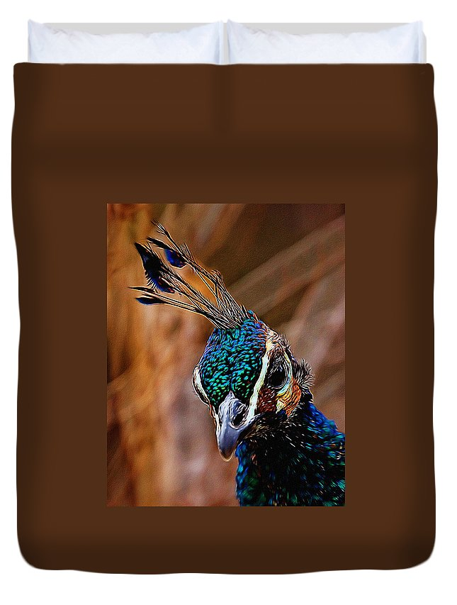 Peacock Profile Duvet Cover featuring the digital art Curious Peacock Digital Art by Ernie Echols