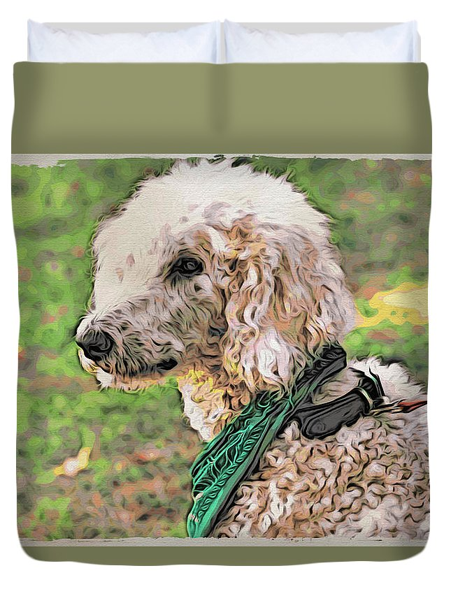 Dog Duvet Cover featuring the photograph Curly White Dog by Alice Gipson