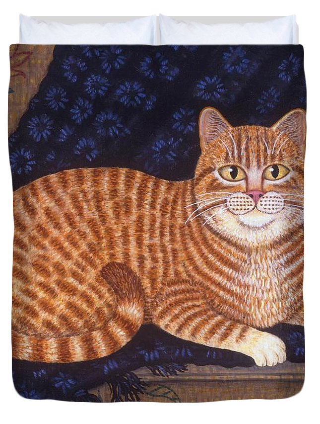 Folk Art Cat Duvet Cover featuring the painting Curry The Cat by Linda Mears