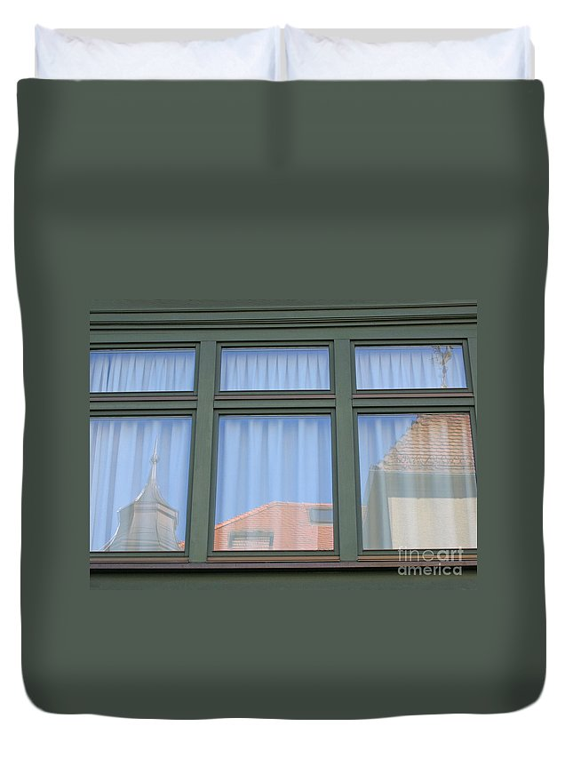 Innsbruck Duvet Cover featuring the photograph Curtained Reflection by Ann Horn