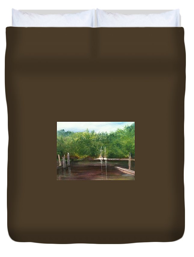 Plein Aire Duvet Cover featuring the painting Curtain's Marina by Sheila Mashaw