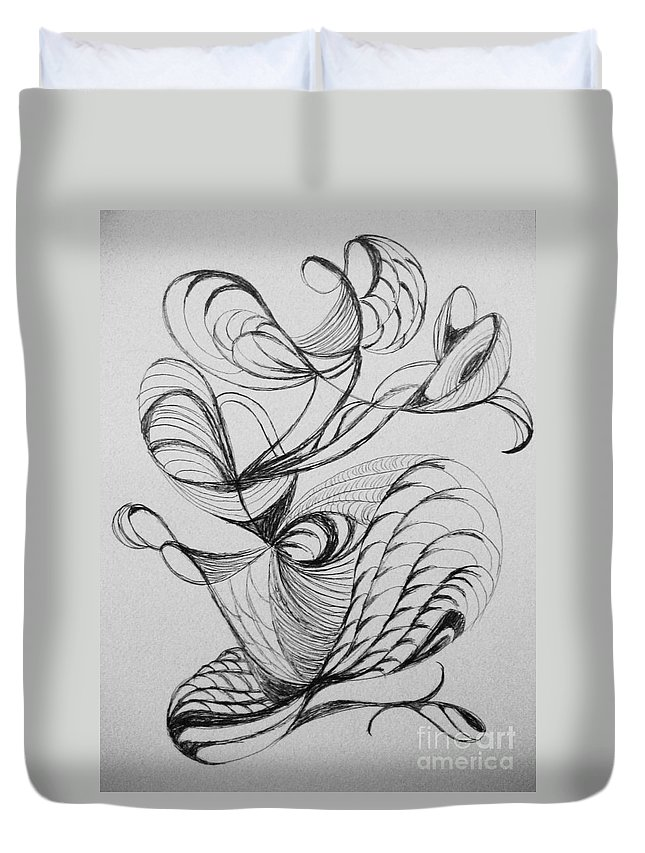Abstract Duvet Cover featuring the drawing Curve Appeal by Lori Bace