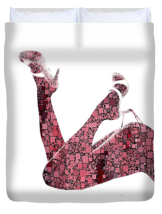 Curves Squares Square Curve Sexy Erotic Woman Female Girl Shoes Butt Naked Beauty Expressionism Pop Art Legs Shape Body Duvet Cover featuring the painting Curves And Squares by Steve K