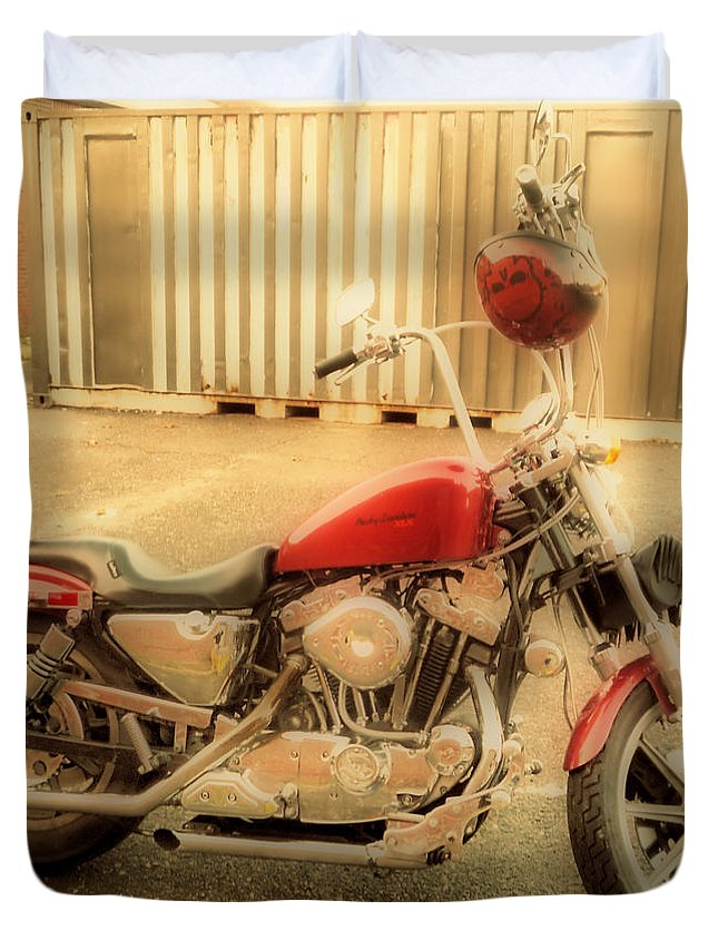 Hdr Duvet Cover featuring the photograph Custom Harley  Hdr by Thomas MacPherson Jr