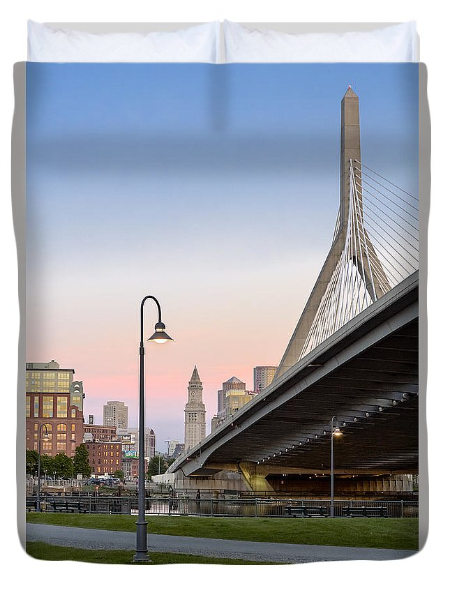 Boston Duvet Cover featuring the photograph Custom House And Zakim Bridge by Susan Candelario