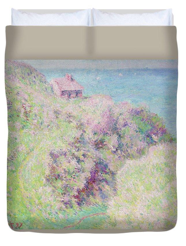 Seascape; Landscape; Coastal; Summer; Sea; Normandy; Seine-maritime; Cliffs; Impressionist Duvet Cover featuring the painting Customs House At Varengeville by Claude Monet