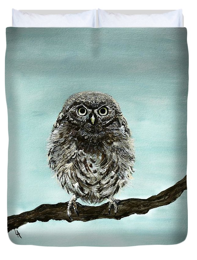 Owl Duvet Cover featuring the painting Cute Baby Owl by Leslie Allen