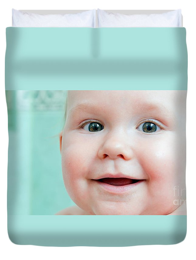 Baby Duvet Cover featuring the photograph Cute Happy Baby Smiling In A Bathroom by Michal Bednarek