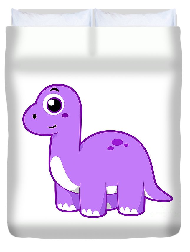 Horizontal Duvet Cover featuring the digital art Cute Illustration Of A Brontosaurus by Stocktrek Images