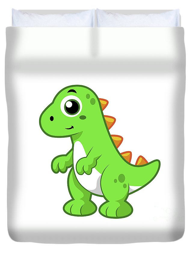 Horizontal Duvet Cover featuring the digital art Cute Illustration Of Tyrannosaurus Rex by Stocktrek Images