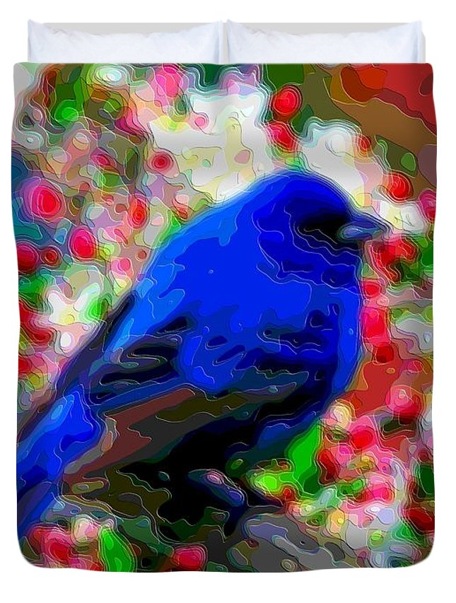 Blue-bird Duvet Cover featuring the digital art Cutout Layer Art Animal Portrait Bird Blue by Mary Clanahan