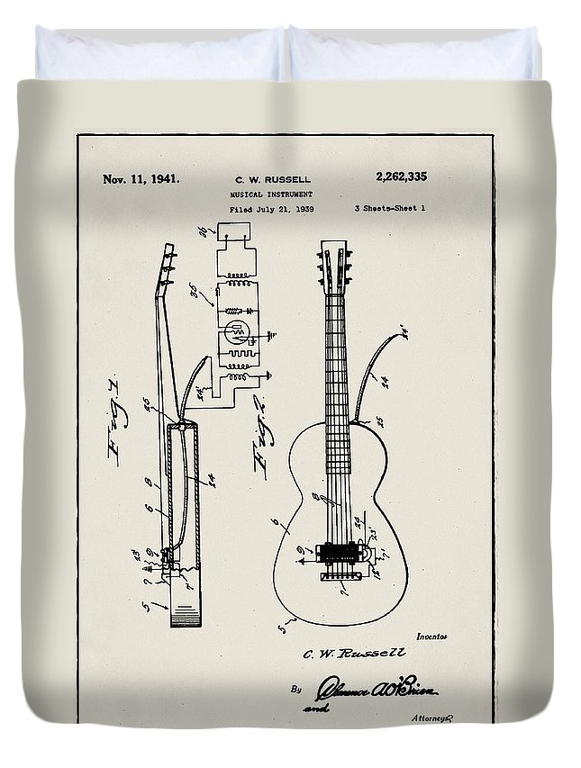 Cw Russell Duvet Cover featuring the digital art Cw Russell Acoustic Electric Guitar Patent 1939 by Bill Cannon