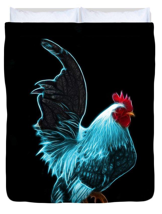 Rooster Duvet Cover featuring the digital art Cyan Rooster Pop Art - 4602 - Bb - James Ahn by James Ahn