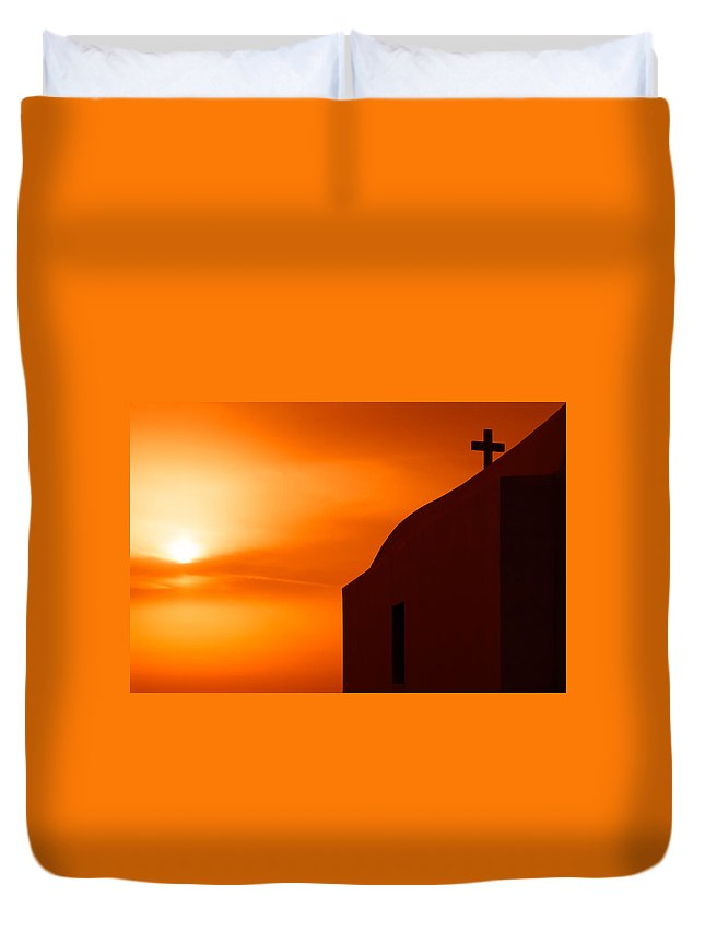 Cyclades Duvet Cover featuring the photograph Cyclades Greece - Amorgos Island Church In Sunset by Alexander Voss