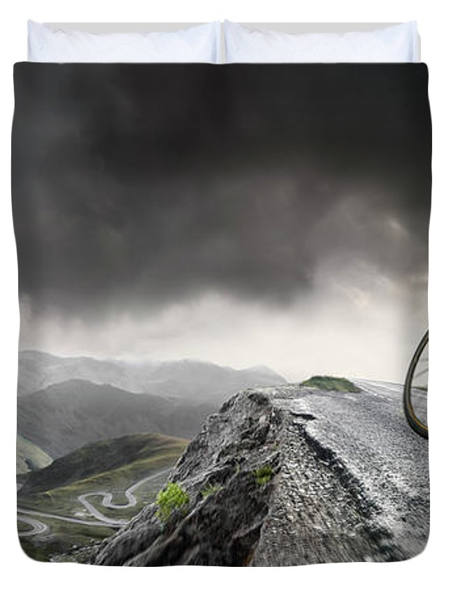Sports Helmet Duvet Cover featuring the photograph Cyclist Climbs To The Top by Peepo