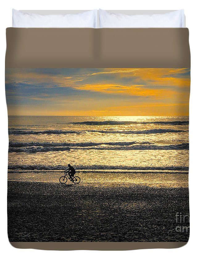Beach Duvet Cover featuring the photograph Cyclist On Beach South Island by Sheila Smart Fine Art Photography
