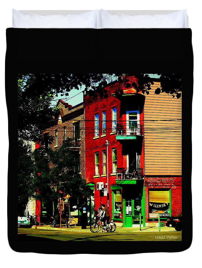 Montreal Duvet Cover featuring the painting Cyclists Crossing Rue Clark Corner Wilensky Spring Street Scene Montreal Art Carole Spandau by Carole Spandau