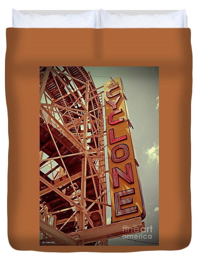Cyclone Duvet Cover featuring the digital art Cyclone Roller Coaster - Coney Island by Jim Zahniser