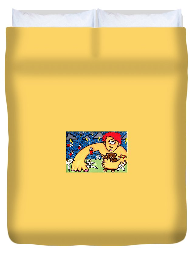 Cyclops Duvet Cover featuring the painting Cyclops I Want To Sleep by Thomas Valentine