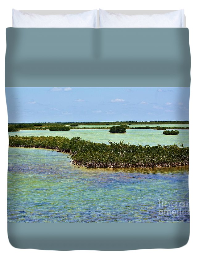 Florida Duvet Cover featuring the photograph mangrove islands Florida Keys by Chuck Hicks