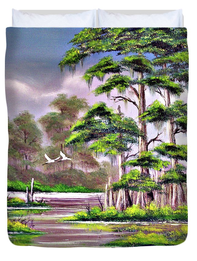 Cypress Duvet Cover featuring the painting Cypress Trees-wakulla River Florida by Bill Holkham