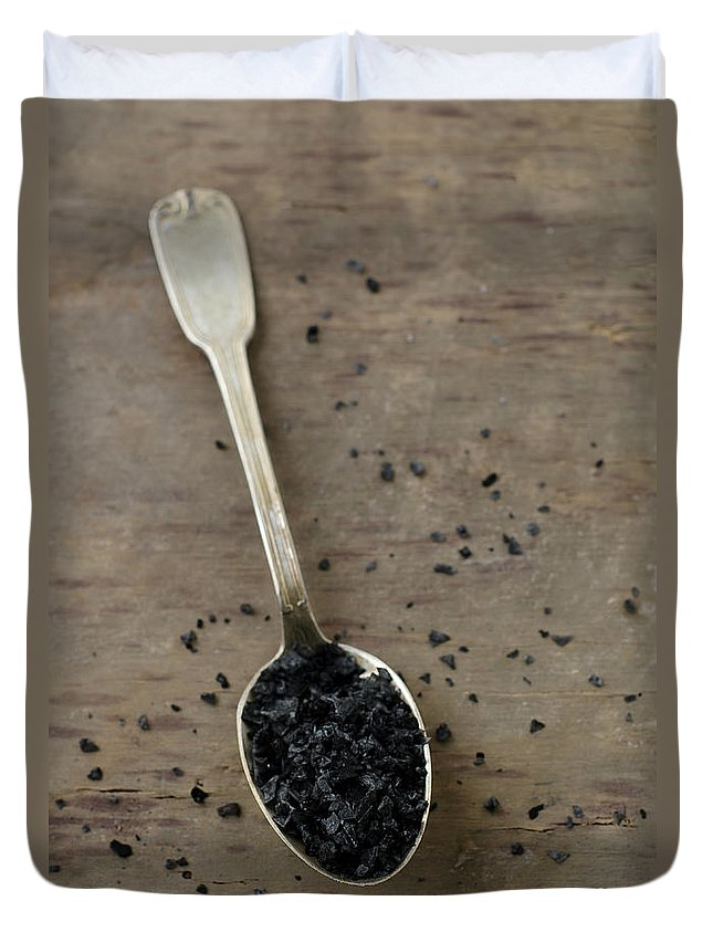 Mineral Duvet Cover featuring the photograph Cyprus Black Sea Salt by Tania Mattiello
