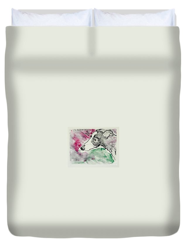 Greyhound Duvet Cover featuring the painting Cyrus by Cori Solomon