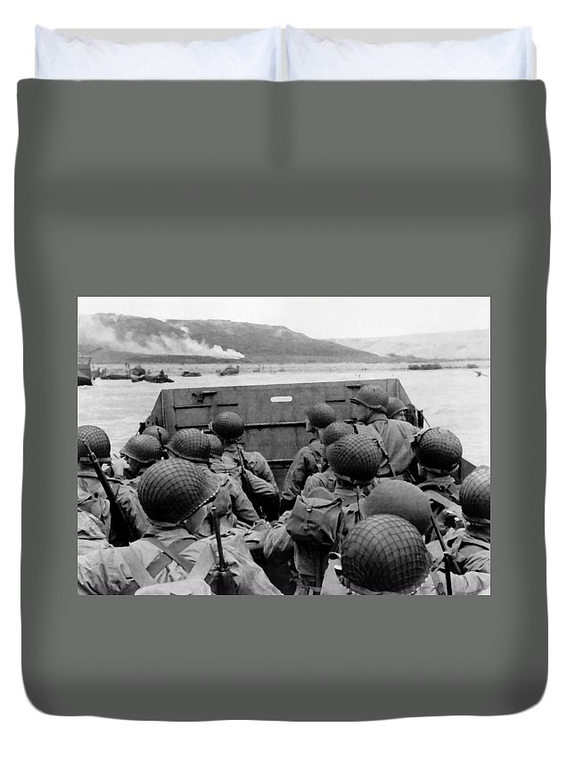 D Day Duvet Cover featuring the painting D-day Soldiers In A Higgins Boat by War Is Hell Store