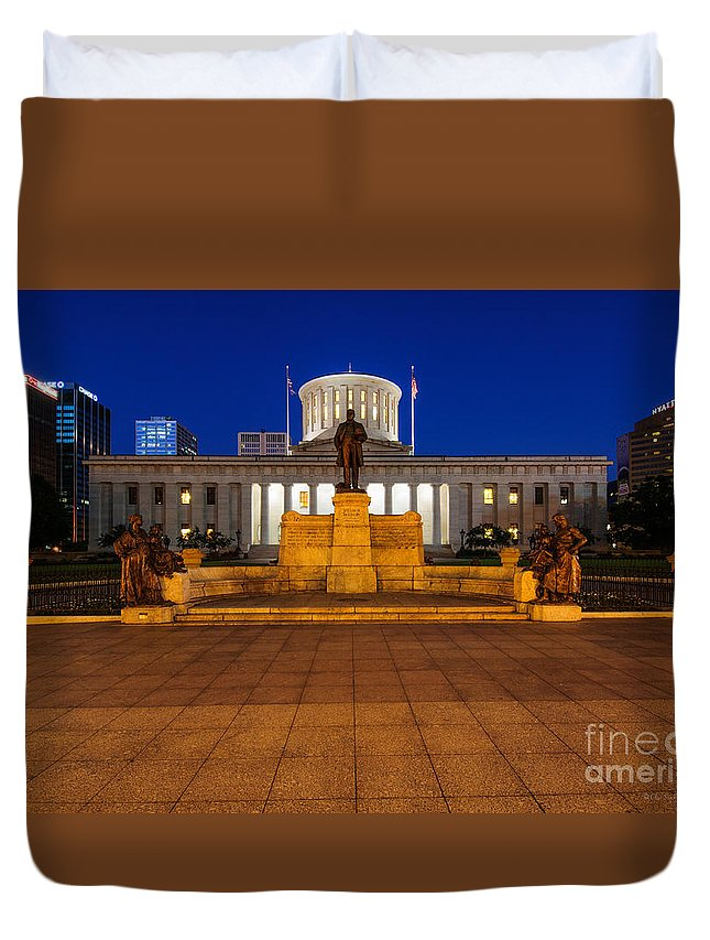 Ohio Duvet Cover featuring the photograph D13l112 Ohio Statehouse Photo by Ohio Stock Photography
