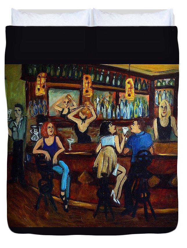 Restaurant Duvet Cover featuring the painting Da Da by Valerie Vescovi