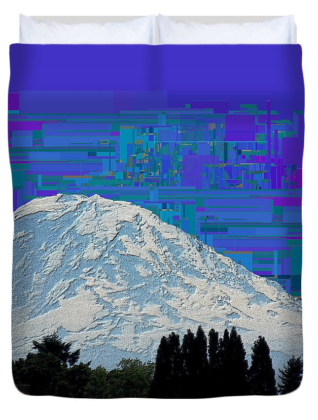 Mountain Duvet Cover featuring the digital art Da Mountain Cubed 1 by Tim Allen