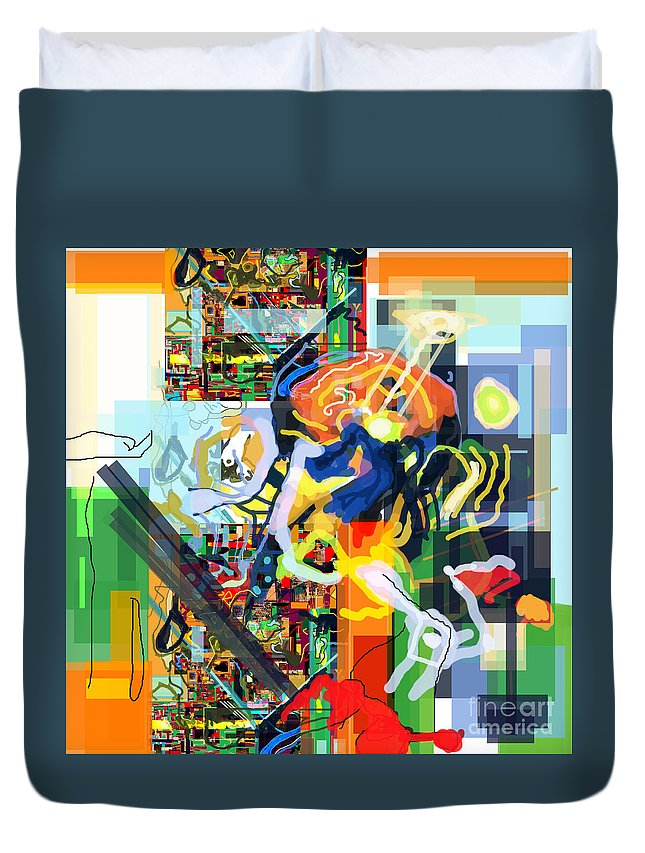 Duvet Cover featuring the digital art Daas 17i by David Baruch Wolk