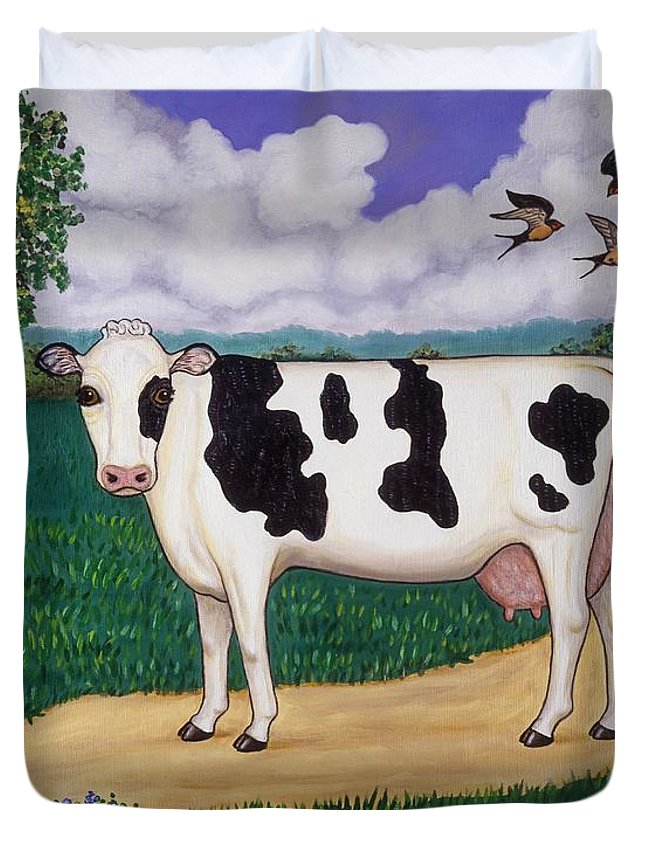 Cow Duvet Cover featuring the painting Dad's Prize Milk Cow by Linda Mears