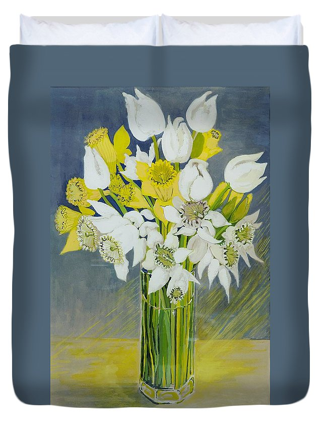 Flowers; Yellow; Colorful; Still Life; Arrangement; Spring; Freshly Picked; Fresh Duvet Cover featuring the painting Daffodils And White Tulips In An Octagonal Glass Vase by Joan Thewsey