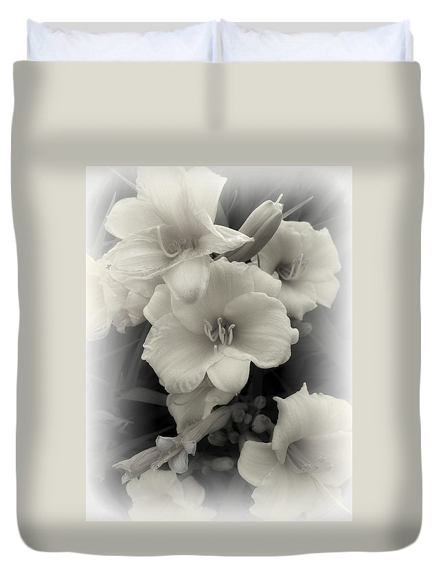 Daffodils Duvet Cover featuring the photograph Daffodils Emerge by Daniel Hagerman